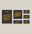 3d super hero lettering and alphabet on gray vector image vector image