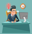 angry businessman cartoon with computer vector image