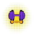 Barbell and dumbbells icon comics style vector image vector image