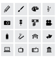 black art icons set vector image vector image
