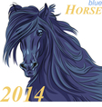 Black horse with a blue tint a symbol of 2014 vector image