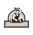 Blacksmith With Hammer Striking Barbell vector image vector image
