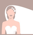 bride in wedding dress and veil vector image vector image