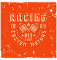 car racing badge in retro style vector image vector image