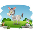 cartoon funny donkey with nature background vector image vector image