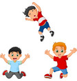 cartoon happy kids jumping together vector image vector image
