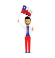 chile flag waving man vector image vector image
