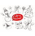 Christmas vintage line art set vector image