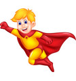 cool superman cartoon flying with smile and waving vector image vector image