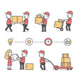 creative set of of delivery happy man in red vector image