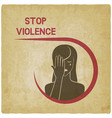 crying woman stop violence concept vector image vector image