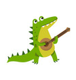 cute cartoon crocodile character playing guitar vector image vector image
