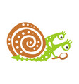 cute snail character with magnifying glass funny vector image vector image