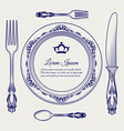cutlery vintage set ball pen sketch vector image vector image