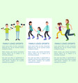 family loves to learn and sports bright banners vector image