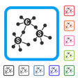 financial networks framed icon vector image vector image