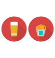 flat glass of beer and onion rings vector image