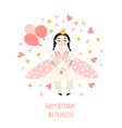 girls birthday card with a cute princess vector image vector image