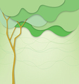 Green background with abstract tree and waves vector image vector image