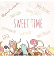 Hand drawn background of sweet elements vector image vector image