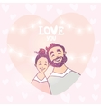 happy couple in heart vector image vector image