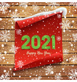 happy new year 2021 greeting card red curved vector image vector image