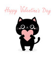 happy valentines day black cat kitten kitty vector image