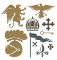 heraldic royal crest medieval knight elements vector image vector image