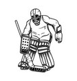 hockey goalkeeper design element for logo label vector image