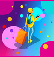 isometric girl in stylish bright clothes hipster vector image