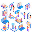 isometric people interfaces set vector image vector image