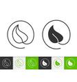 leaf simple black line icon vector image vector image