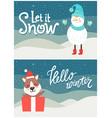 let it snow hello winter bright snowy postcard vector image vector image
