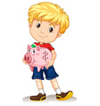Little boy holding piggy bank vector image vector image