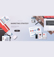 marketing strategy concept workplace desk top vector image vector image