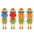 men in camp clothes with backpacks vector image