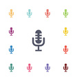 microphone flat icons set vector image