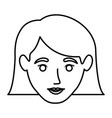 monochrome contour of smiling woman face with the vector image