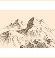 mountains ranges hand drawing alpine landscape vector image vector image