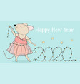 new year 2020 mouse and christmas lights vector image vector image