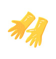 pair of orange garden rubber gloves cartoon vector image vector image