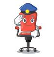 police character office desk chair in indoor vector image
