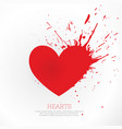 red heard with ink splatter vector image vector image