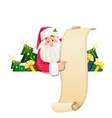 Santa Claus with scroll and vector image