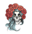 skull in rose wreath vector image vector image