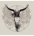 skull of goat and wings and pentagram vector image vector image