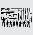 soldier gun and sword silhouette vector image
