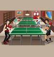 teenagers playing ping pong vector image