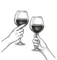 two hands clinking glasses of wine vector image vector image