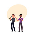 two men guys singing in duet karaoke party vector image